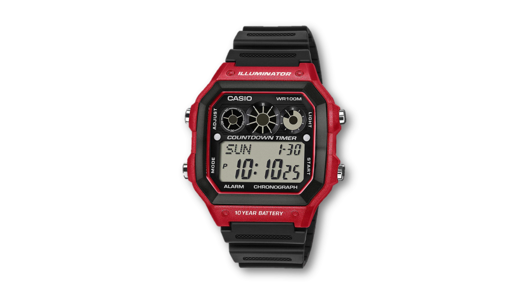 Casio youth digital watch red