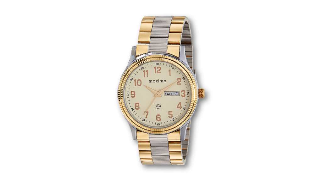 Maxima analogue watch for men under 2000 in champagne dial